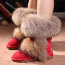 2017 new hot sale Fox Fur Snow Boots Winter Wedding Shoes Red Waterproof Warm Shoes Leopard Botas Femininas(China)
