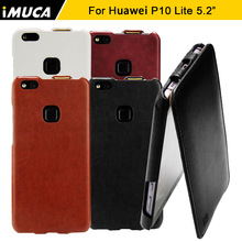 For Huawei P10 lite Case Luxury PU Leather Flip Back Cover Protective Phone Cases iMUCA Original Huawei P10 Lite Case Cover(China)