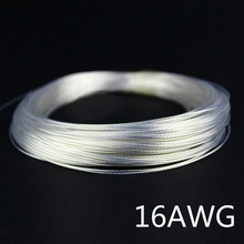 1m 16AWG Silver plated cable Teflon OD 2.2mm headphone cable DIY earphone wire audio cable high temperature wire 9 colors(China)