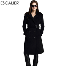 ESCALIER Free Shipping Winter Women Coats Wool Blend Overcoat X Long Woolen Sashes Pockets Outerwear Double Breasted Coat(China)