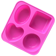 4 different shape square round heart oval Muffin Sweet Candy Jelly fondant Cake Mold Silicone tool Baking Pan SOAP MOLD E500