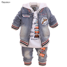 Baby Boy Suit 2017 New Casual Children's Clothing Sets Cowboy Jacket+T-shirt+Pants Kids 3pcs Suit Sets Infant Baby Boys Clothes