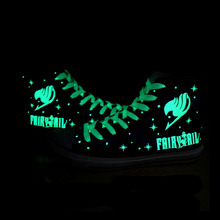 FAIRY TAIL Cosplay Natsu Logo Print  Blue White Luminous Casual Canvas Shoes For Men Male Sport Shoe EU Size