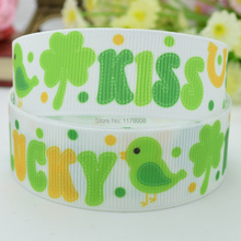 "DUWES 7/8"" 22mm St patrick Bird kiss lucky Hats shamrocks Printed grosgrain ribbon hairbow DIY handmade wholesale 50YD(China)"