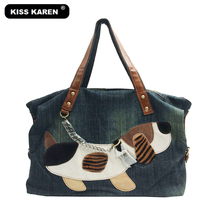 KISS KAREN Cartoon 3D Dog Appliques Denim Women Bag Lady Handbags Jeans Casual Totes Women's Shoulder Bags Women's Tote Bag(China)