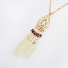 Fashion Trend Bohemian Jewelry Feather bead Tassel Pendant Long Necklace For Women Charm Statement Necklace Jewelry