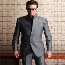 new suit Western Styles men suit Shiny Grey For Wedding groom Best Man Bridegroom Party Prom Suits With High quality(China)