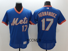 MLB Men's New York Mets Hernandez Blue Throwback Flex Base Authentic Collection Player Baseball Jersey Free Shipping(China)
