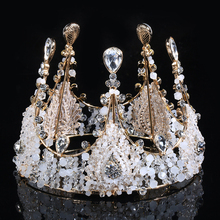 Luxury Sparkly Golden Crown Handmade Beaded Crystal Shiny Baroque Style Tiaras For Bridal Wedding Jewelry Hair Accessories Hot(China)