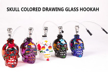 Smoke Pipe Glass Bong Water Pipe Hookah Shisha Colorful Skull Head Pipe with Tube Tobacco Holder Filter Narguile Drop Shipping(China)