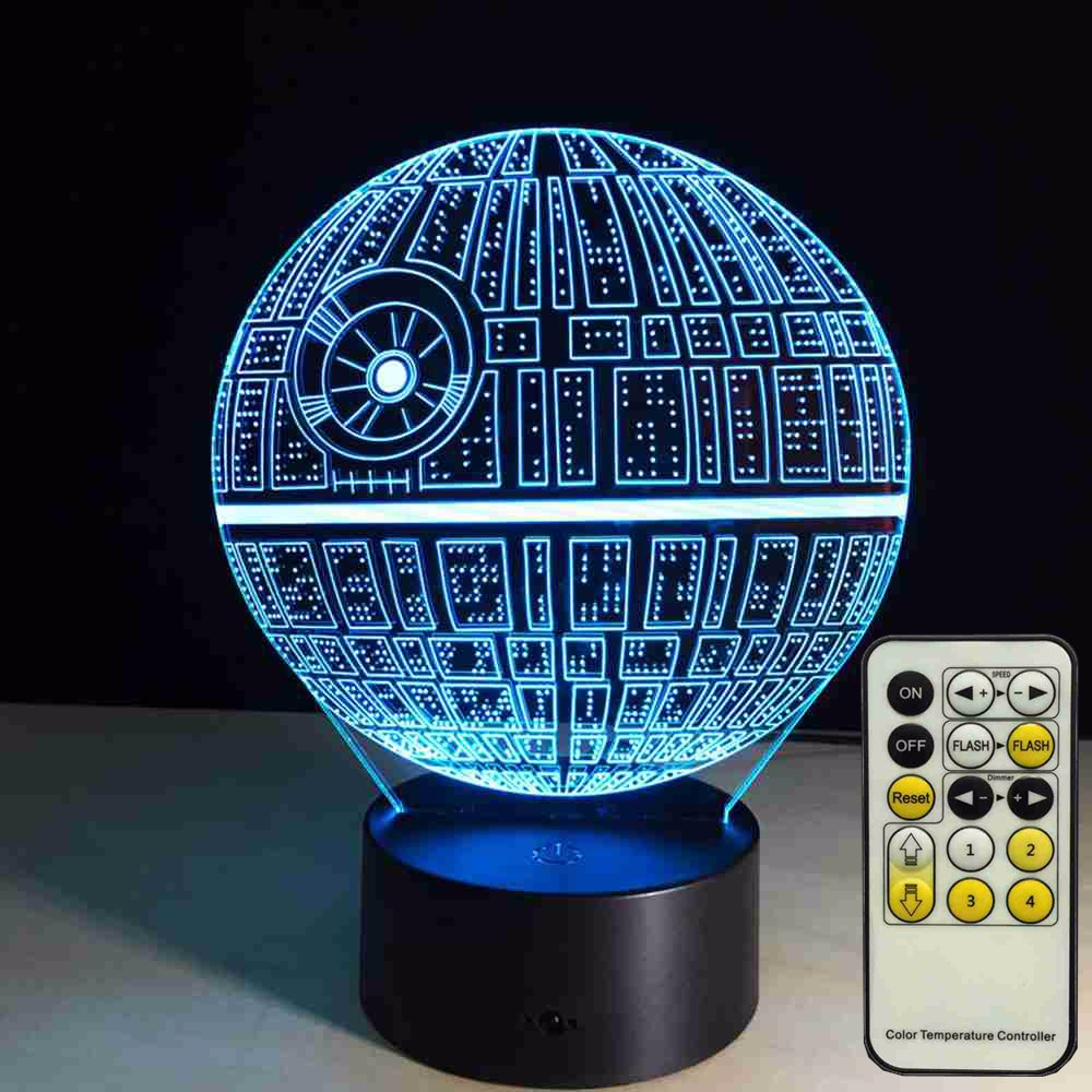 7colors New 3D Led Night The Force Awakens ! Multi-colored Death Star Table Lamp 3D Death Star Bulbing Light for Star Wars Fans<br><br>Aliexpress