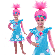 New 2017 Trolls Party Dress for Girls Baby Kid Costumes Autumn Christmas Flower Cartoon Girl Dresses Wig Toddler Clothing Troll(China)