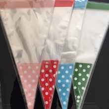 50pcs 10x15CM BABY SHOWER Wedding Birthday Party Favor Cello Goody Loot TREAT BAGS GIRL pink blue green POLKA DOT cone bag