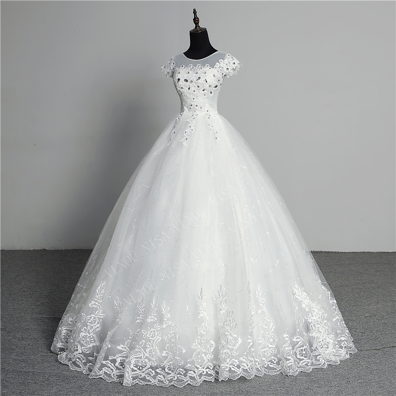 Custom Made Wedding Dress 2020 New Arrival Crystal Appliques Embroidery Lace O-Neck Short Sleeve Princess Gown Vestidos De Novia