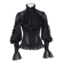 Buy Women gothic blouse sexy black hollow long sleeve slim blouse fashion print applique puff sleeve victorian lace women blouse for $15.31 in AliExpress store