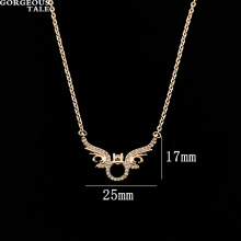 GORGEOUS TALE Modern Delicate Men Wings Pendent Necklace Fashion Designers 2017 Brand Necklace Stainless Steel Boho Jewellery