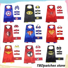 100pcs/lot Halloween children's cloak and mask costume for kids COSPLAY Superman/Captain America/iron man/spider man Cape Cloak(China)