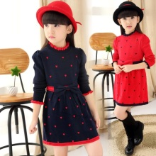 2017 Spring Fall Fashion Long Sleeve Girl Dress Heart Bow Princess Kids Dresses for Girls Child Sweater Clothes 4-12 Yrs JW2293A(China)