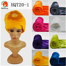 HQT20 2017 New Design Muslim For Party Wedding African Headwrap with beads Velvet Soft Beaded Turban Head Wrap for Women Headtie