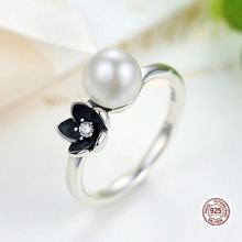 Brand New Collection 925 Sterling Silver Mystic Floral Stackable Ring,925 sterling silver Pearl & Black Enamel Ring Jewelry(China)