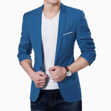 Stylish Men's Casual Slim Fit One Button Suit Blazer Coat Jacket Tops(China)