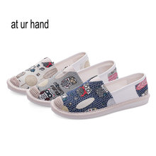New Ladies Slip-On Flats Graffiti Fisherman Shoes Woman Casual Canvas Spring Autumn Shoes size 35-40(China)