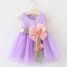 2017 Baby Girls Big Bowknot Infant Party Dress For Toddler Girl First Brithday Baptism Clothes Double Formal Solid Tutu Dresses