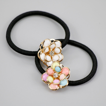 Rhinestone Flower Rubber Headband Female Ponytail Hair Headwear Elastic Hairband(China)