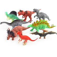 8pcs/set Plastic Dinosaurs Simulation Animal Model Solid Soft Dinosaur Action Figures Toys Gift For Kids #E(China)