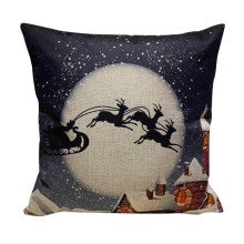 Dark Blue Snowing Sky cushion case cover Retro Santa Clause Sled print cushion case Pillowcover Slip Square flax linen covers(China)