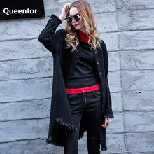 QUEENTOR Original 2017 Brand Autumn Denim Coat Ulzzang Fashion Loose Black Tassel BF Cowboy Top Women Wholesale(China)