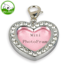 New Bling Rhinestone Mini Photo Frame Pet Dog Tags and Charms 7 Shapes