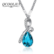 QCOOLJLY 10 Colors Austrian Crystal Necklace Pendants Jewellery & Jewerly 2016 Necklace Women Fashion Jewelry Wholesale(China)