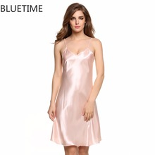 Sexy Night Gown Nightshirt Casual Nightdress Women Nightgown Silk Lady Nightwear Satin Dress Plus Size Female Home Clothing XXL(China)