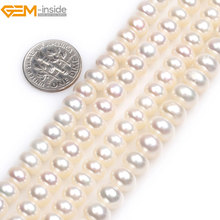 Gem-inside Natural AAA Grade Rondelle Freshwater Cultured Pearls heishi spacer Beads Jewelry Making 15'' DIY Jewellery