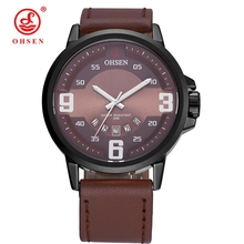 2017 New OHSEN Fashion Brand Male Business Quartz Watch Men Date Display Dress Wristwatch Coffee Leather Band Mans Watch Relogio(China)