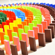 120pcs/lot Wooden Dominoes Kids Educational Toy Bright Coloured Tumbling Games For Kids Building Blocks brinquedos juguetes