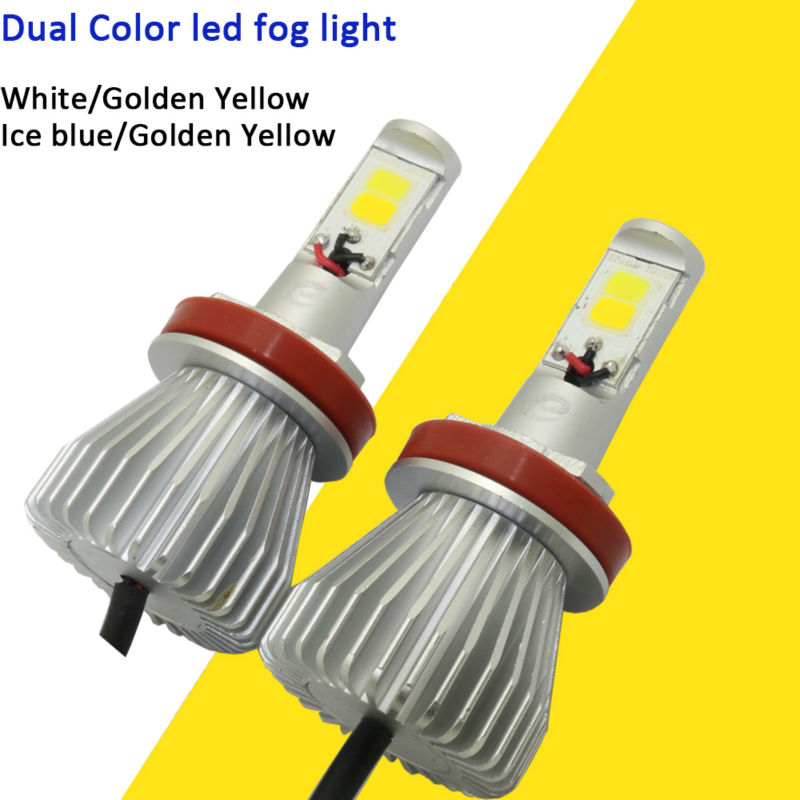 Dual Color Car Styling Led Fog Bulb Golden Yellow White Ice Blue Light H3 H8 H11 9005 H10 HB3 9006 HB4 880 881 Lamp 12V Foglamps<br>