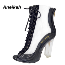 Aneikeh Hot Sales 2017 New Sexy PVC Transparent Gladiator Boots Peep Toe Shoe Clear Chunky Heels Zapatos Mujer Boot Black Sandal(China)