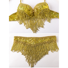 2016 Women Bellydance Clothes Eastern Style Beaded Top and Belt 2pcs Set Costumes for Belly Dance Bra Costume with Necklace