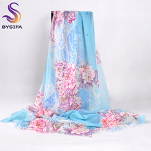 [BYSIFA] Chinese Peony Blue Pink Wool Scarves Pashimina Women Fashion Accessories Brand Warm Cashmere Winter Long Scarf Shawl(China)