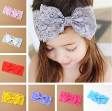 1 Piece bowknot baby lace baby girls hair bow knot head band infant newborn bows headwear hairband headwrap Floral headbands(China)