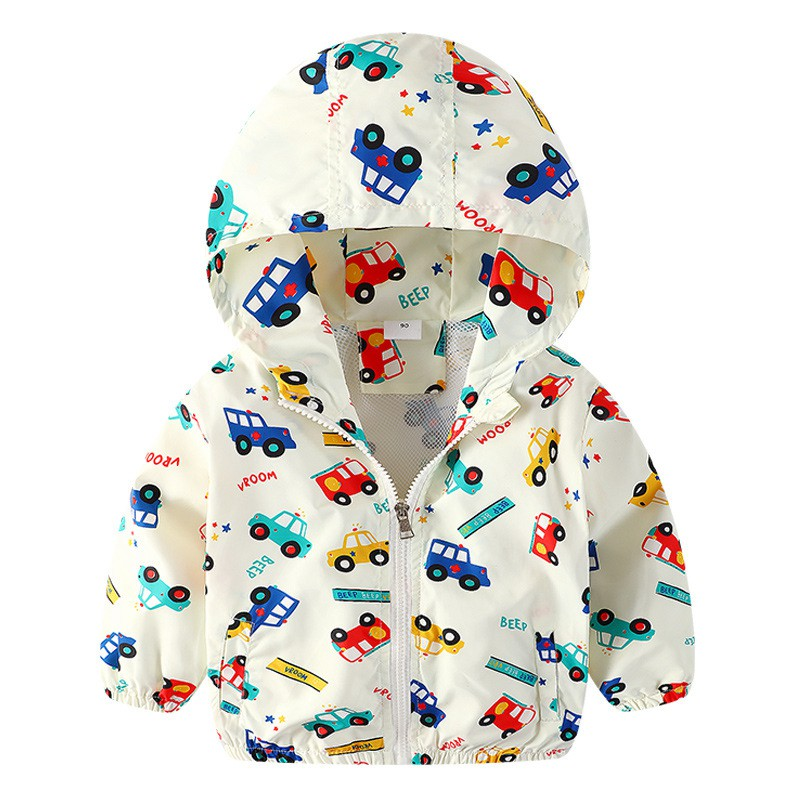 COOTELILI 80-130cm Cute Car Printing Kids Boys Jacket 2018 Spring Hooded Children Clothes Active Girls Windbreakers  (8)
