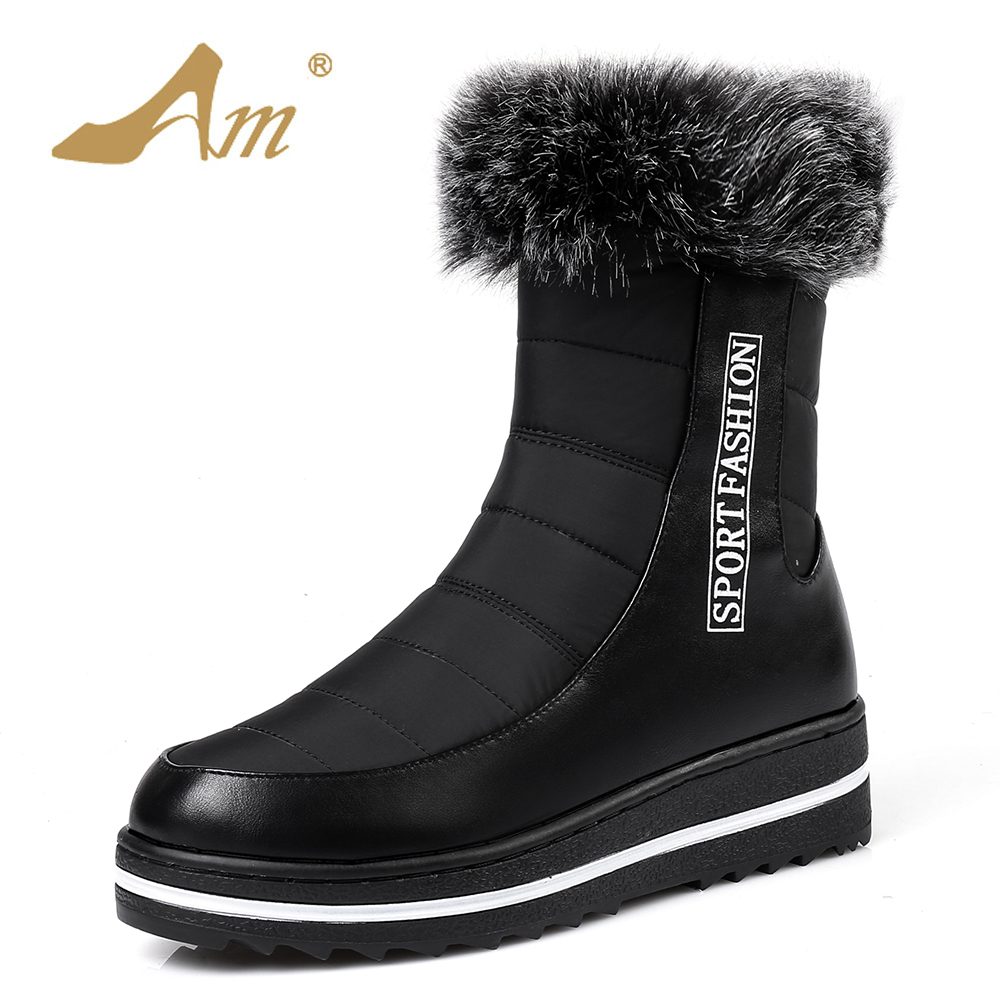 AME Female Down Mid Calf Snow Boots Fashion Women Zip Boot with Plush Girls Ladies Shoes with Platform<br>