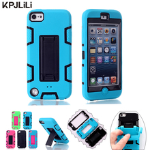Luxury Silicone Case for iPod Touch 5 6 5th 6th Kickstand Shockproof Hybrid Heavy Duty Rubber Armor Hard Protective Phone Cover