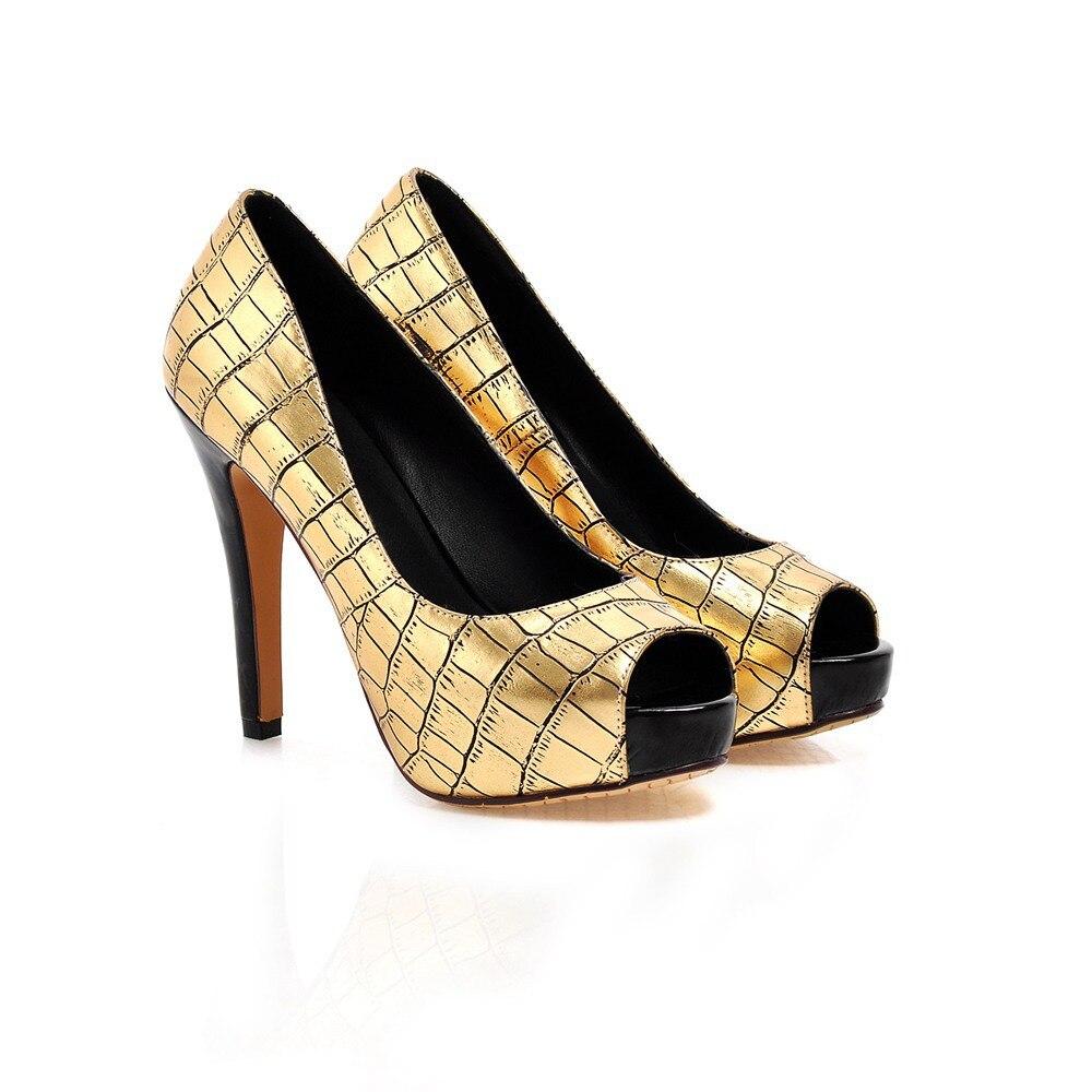 New Hot Sexy Women Platform Pumps Gold Silver Green Pink Ladies Peep Toe High Heels  Shoes ACP129 Fashion Plus Big Size  10 43<br><br>Aliexpress