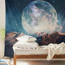 Wall Hanging Wolf Moon Tapestry Yoga Mat Rug Bedspread Throw Blanket Home Room Decoration Textiles Picnic Cloth 150X130cm