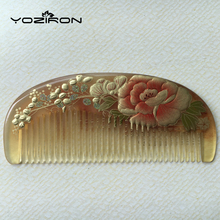 Diaphanous handmade Sheep Horn combs thickening Authentic hand-painted lacquer art combs hair style designer for ladies Y027(China)