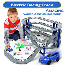 3 styles Racing Road Electric Train Track Car Bridge Railway  Racing Track Toy Highway Overpass Transportation Building Sets