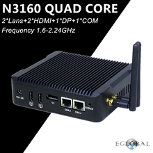 [Intel N3160 Qaud Core] Eglobal Braswell Mini PC Fanless Computer Intel HD Graphics 400 4K TV Box 2*HDMI DP 2*LAN 300M Wifi